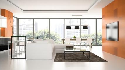 Interior of the modern design  loft  with orange wall 3D renderi