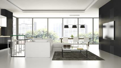 Interior of the modern design  loft  with white floorl 3D render