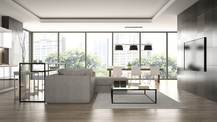 Interior of the modern design  loft  with black wall 3D renderin