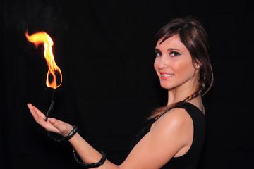 female fire juggler