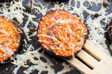 Wooden paddle with eggplant tapas