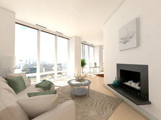 Living Room in Modern Luxury Apartment