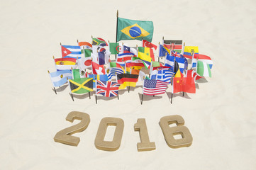 2016 Message in Gold Numbers International Flags