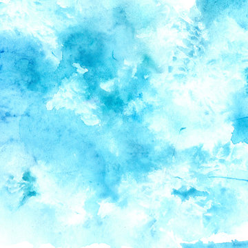 Watercolor blue sky texture with swashes and stains
