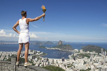 Old Fashioned Athlete Holding Sport Torch Rio de Janeiro
