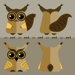 Cartoon squirrel and owl, front and back.