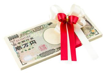 Japanese yen cash on isolated background