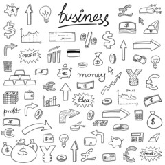 Business doodle icons - vector art