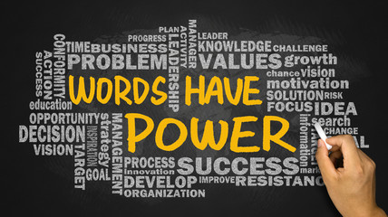 words have power with related word cloud hand drawing on blackbo
