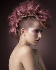 glamour girl with punk hairdo