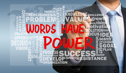 words have power with related word cloud hand drawing by busines