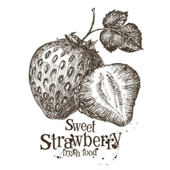strawberry vector logo design template. fresh berry, food or