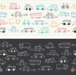 Cars doodles seamless