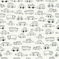 Cars doodles seamless