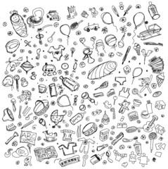 Vector Sketch background with baby stuff