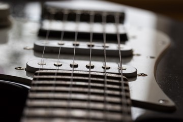 Close up of electric guitar element