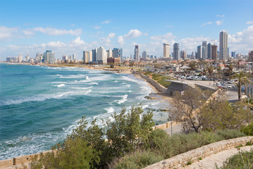 Tel Aviv -  outlook to waterfront and the city from old Jaffa
