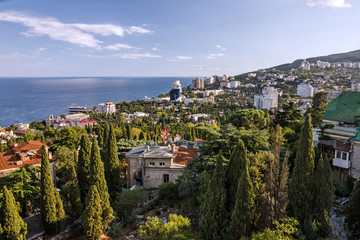 Yalta, Crimea: Panoramic view on famous resort, Russia.