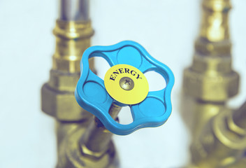 Water pipe valve close up. Creative energy concept.