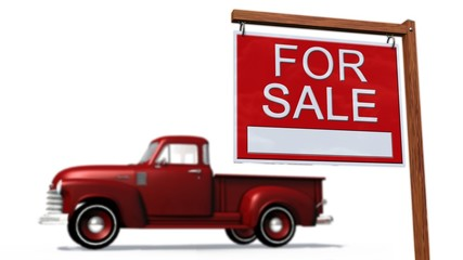 Cars for sale Sign in front of a car - on white background
