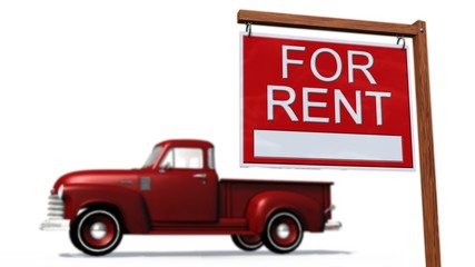 Cars for rent Sign in front of a car -  on white background
