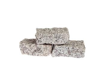 Granite blocks isolated on white background