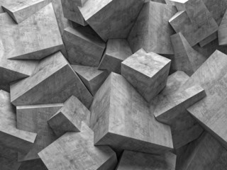 Obraz geometric abstract background with cubic polygonal shapes in concrete material and different sizes. nobody around. - fototapety do salonu