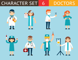 Doctor and Nurse Characters Madical Icon Set Symbol with