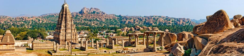 Panorama of Virupaksha temple, Hampi, India