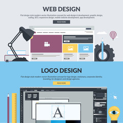 Flat design style concepts for graphic and web design