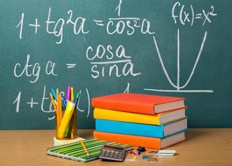 School. Back to school - blackboard with pencil-box and school