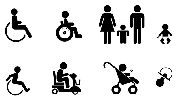 Personnes handicapées et famille en 8 icônes
