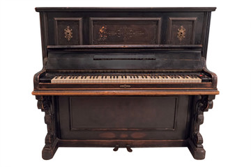 Old fashioned piano under the white background