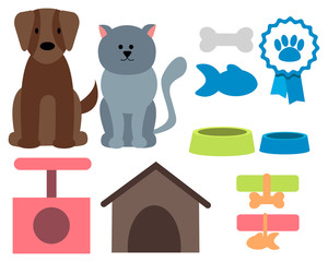 Pet icons. Cat, dog and accessories.