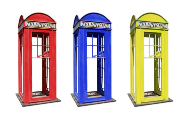 The British  phone booth isolated on white background