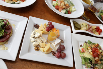 Salads and cheeses set