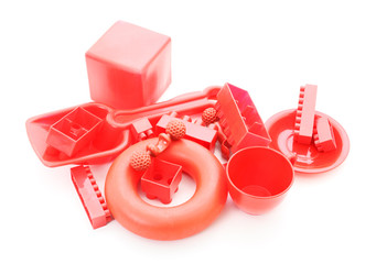 Red plastic toys