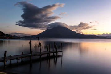 sunset on lake atitlan guatemala