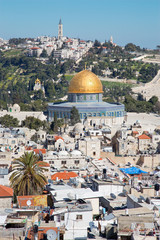 Jerusalem -  Dom of Rock and Mount of Olives.