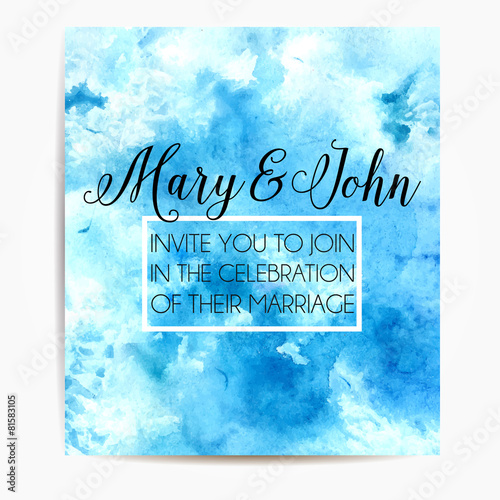 wedding invitation template with sky watercolor texture vector