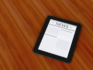 3d digital tablet pc with news. Media concept