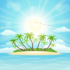 Wall Mural - Summer tropical island with palms, sky,  clouds and sun