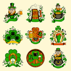 Set of nine pictures for St. Patrick's Day.
