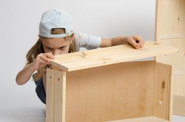 Girl collects facade box