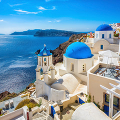 Aluminium Prints Santorini Santorini blue dome churches, Greece