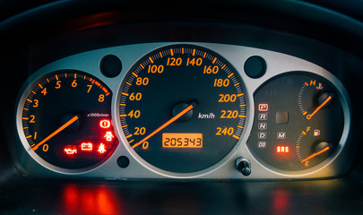 closeup car dashboard