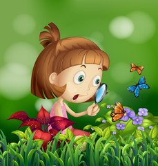 Girl and butterflies