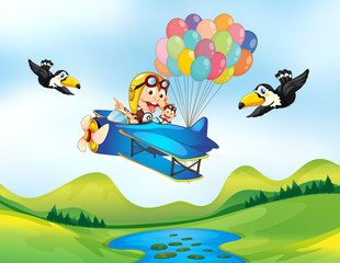 Papiers peints Avion, ballon Monkey and helicopter