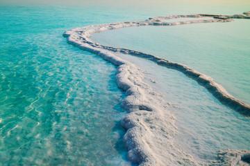 Fototapete - Dead sea salt shore