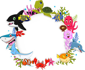 cartoon sea animals with blank sign for you design